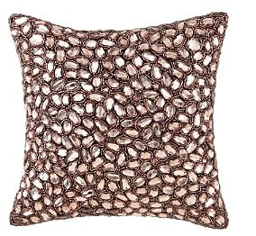#Pink Cushion Cover crafted in luxurious #silk with all-over beading, this embellished decorative pillow adds a touch of #glamour | #Ad