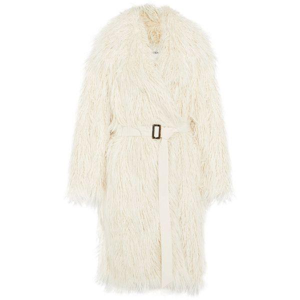 Goen J Faux fur coat ($1,550) ❤ liked on Polyvore featuring outerwear, coats, vintage faux fur coat, imitation fur coats, cream faux fur coat, vintage coats and white fake fur coat
