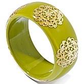 Beautiful Myrka Filigree Station Bold Bangle Bracelet in Lime Green!