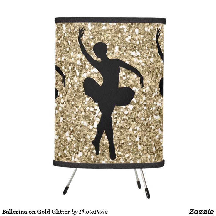 Ballerina on Faux Gold Glitter Tripod Lamp
