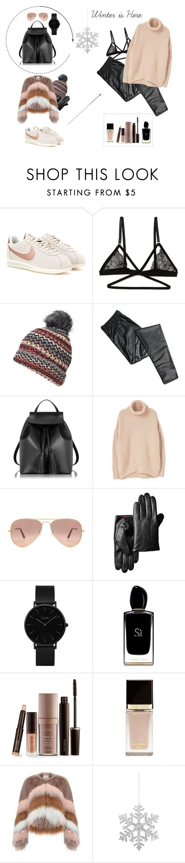 """""""Winter is Here"""" by smaranda-leorda on Polyvore featuring NIKE, Honeydew Intimates, Dorothy Perkins, Le Parmentier, MANGO, Ray-Ban, CLUSE, Giorgio Armani, Laura Mercier and Tom Ford"""