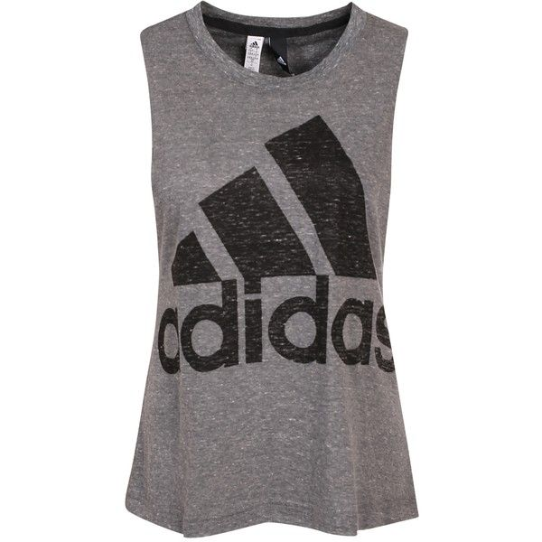 Adidas Sport Performance Logo Sleeveless ($32) ❤ liked on Polyvore featuring tops, adidas tank top, logo tank tops, loose fit tank, sleeveless crew neck tank tops and low top