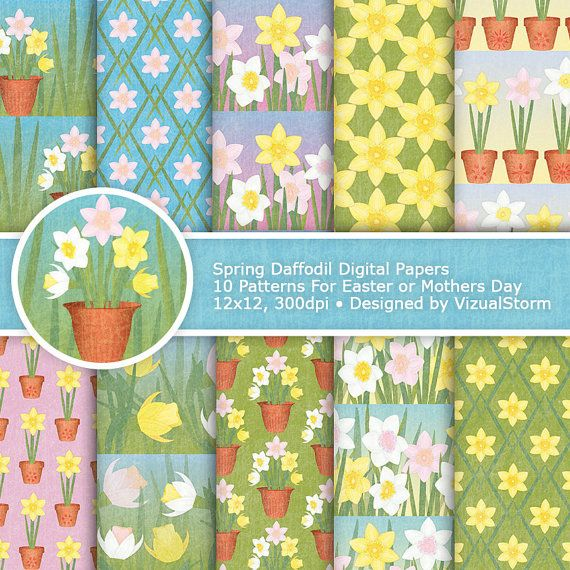 Daffodils Digital Paper for Easter or Mothers Day. #digitalpaper #springpaper #craftpaper #daffodils #daffodilpatterns #daffodilbackgrounds #springpatterns #springcraft