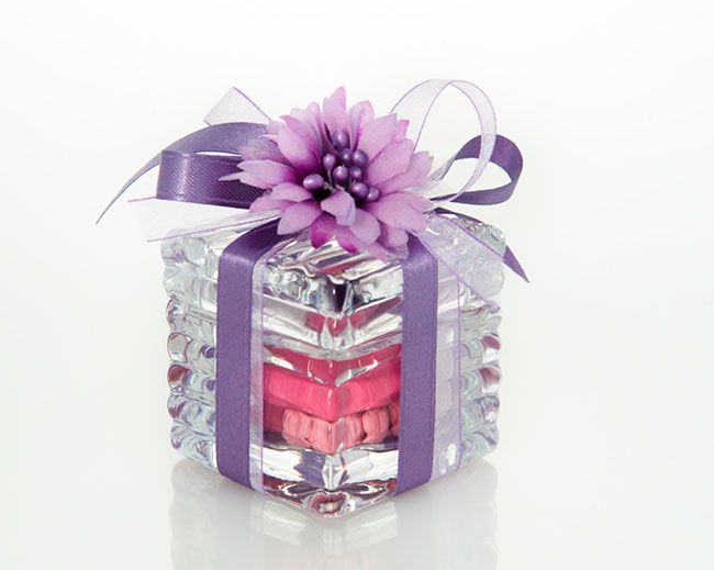 Glass-made cube filled with two different varieties of Jordan Almonds, hand made small decorative flower, organza and silk ribbons.