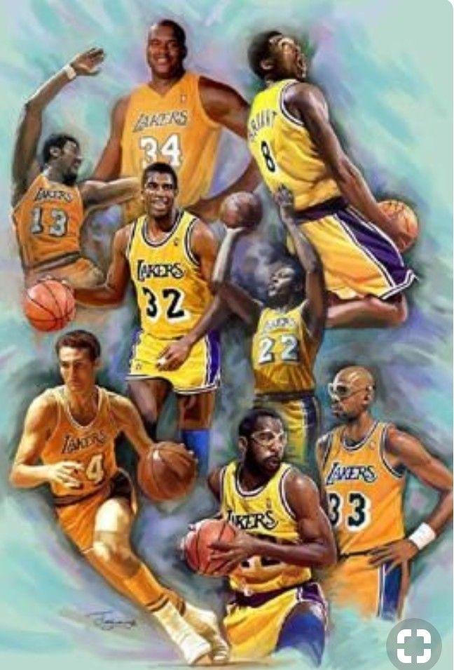 Elginbaylor Wiltchamberlain Jerrywest Kareemabduljabbar Magicjohnson Shaq Kobebryant Losangeleslakers Losangeles Lakers Kobe Nba Basketball Art Lakers