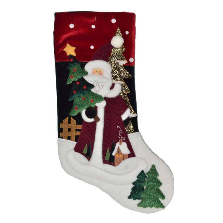 """Trim A Home® 20"""" Santa Whimsical Velvet Stocking, Multi"""