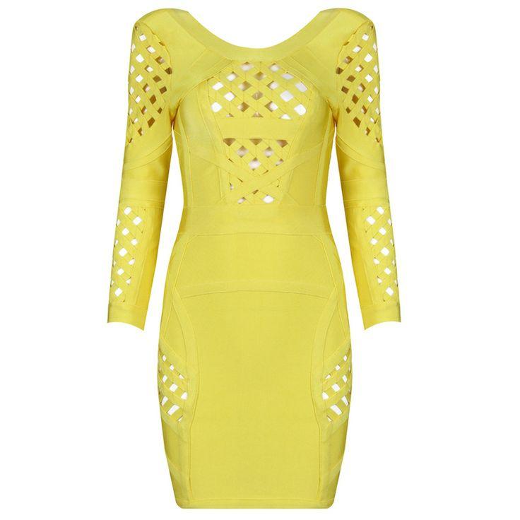 Selena Mid Sleeve Bandage Dress Yellow For Women HL662