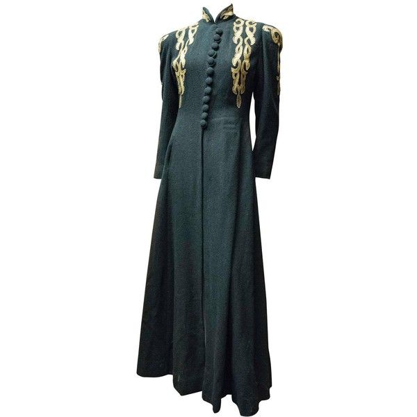 1940s Black and Brass Opera Coat ($650) ❤ liked on Polyvore featuring outerwear, coats, 1940s, vintage and vintage coats