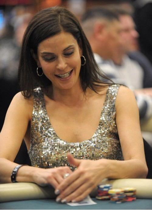 Hollywood star and James Bond girl Teri Hatcher as a star Poker Player.