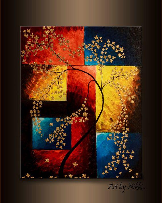 Rot und Gold Kunst, Kirschblütenmalerei, Baummalerei, Blumenmalerei, florale Wandkunst, Haus Erwärmung Geschenk, Wohnzimmer Dekor, Baumkunst   – Schöne Bilder