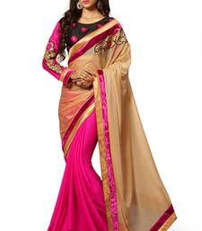 Buy Beige embroidered chiffon saree with blouse party-wear-saree online