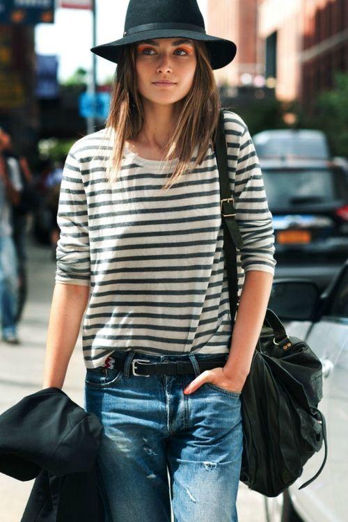 breton stripes + boyfriend jeans + fedora hat   LOVE LOVE LOVE