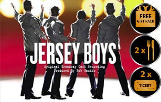JERSEY BOYS THEATRE VOUCHER SHOW AND DINNER FOR TWO THEATRE VOUCHER GIFT PACKAGE Jersey Boys the musical is arguably one of London s top West End