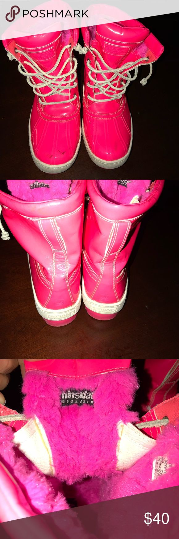 Sperry hot pink boots - size 9 Fun Hot Pink Sperry Boots worn twice - scuff on inside and toe of right boot. sperry Shoes Winter & Rain Boots