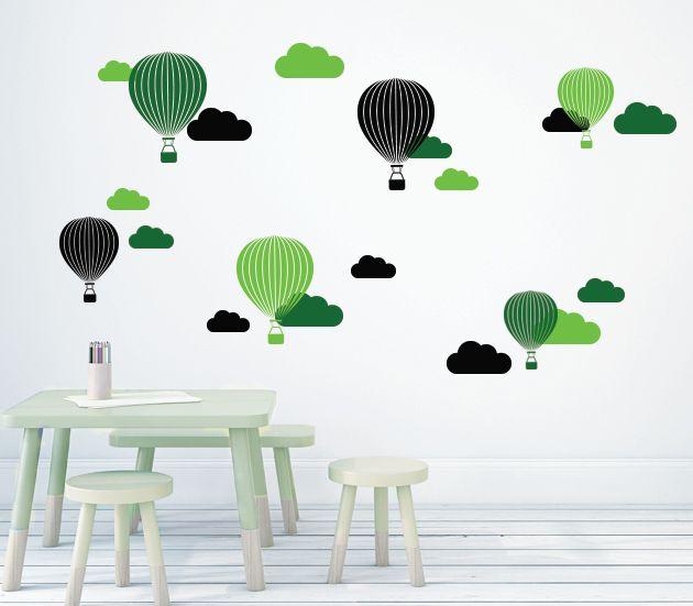 VÄGGDEKOR Luftballonger grön
