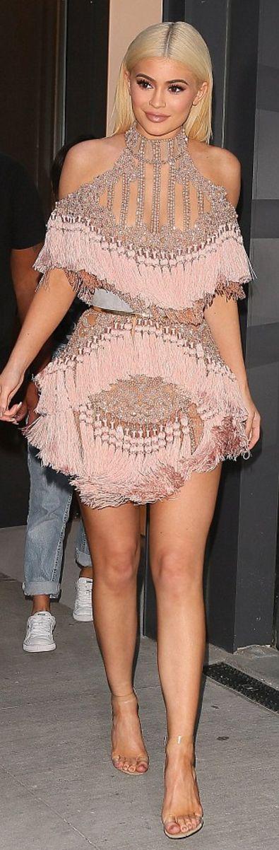 Kylie Jenner in Dress – Balmain Shoes – Yeezy