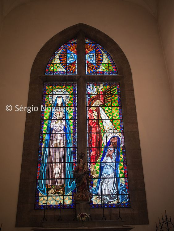 Stained glass window by Almada Negreiros in Santo Condestavel church in Campo de Ourique neighbourhood