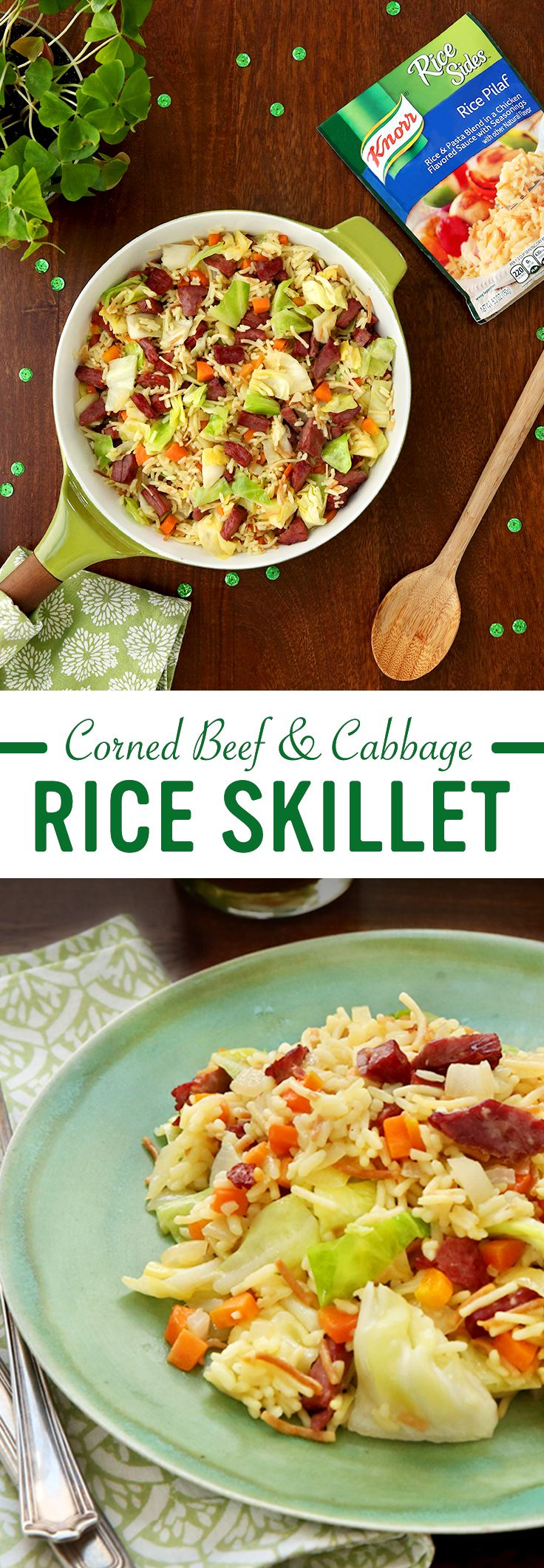 Why wait for St. Patrick's Day to find your pot (or skillet!) of gold? Knorr's take on Corned Beef & Cabbage Rice Skillet sets the standard for Irish inspired flavor. Follow these easy steps for family dinner tonight:  1. Cook onion, carrot, & cabbage 2. Add Knorr® Rice Sides™ - Rice Pilaf 3. Stir in corned beef & mustard. Serve & enjoy!