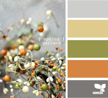 Seeds: spring garland Kitchen/Dining -- That's it! I'm missing the green and pulling in the yellow from the LR.