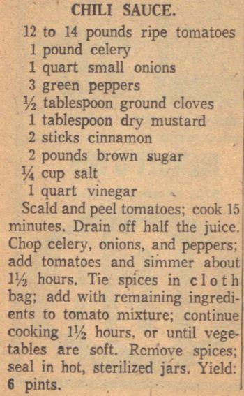 Recipe Clipping For Chili Sauce