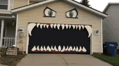Hungry Halloween monster house in action. [video]