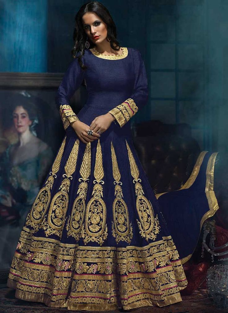 Navy Blue Embroidery Resham Work Lace Border Long Anarkali Salwar Kameez. Buy Online Shopping Sawlar Kameez At - CANADA http://www.angelnx.com/