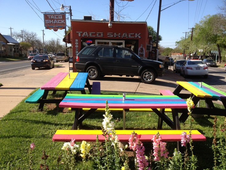 picnic tables - ILY Taco Shack. Outdoor tables can be inexpensive.
