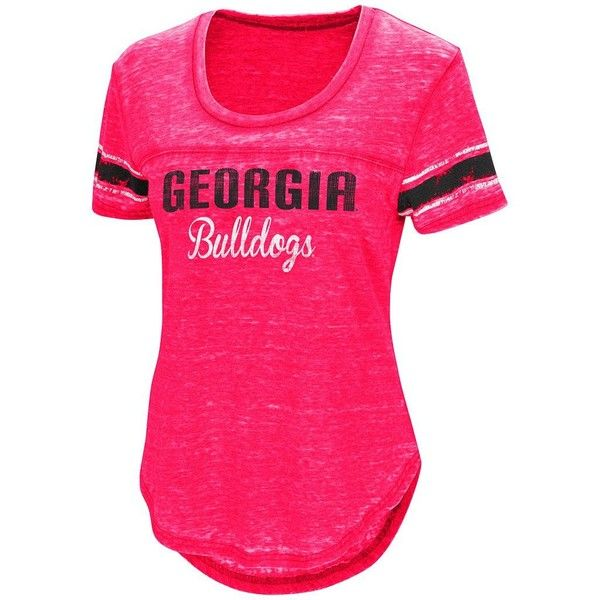 Women's Campus Heritage Georgia Bulldogs Double Stag Tee ($26) ❤ liked on Polyvore featuring tops, t-shirts, dark red, short sleeve crew neck t shirt, curved hem tee, curved hem t shirt, burn out t shirt and crew t shirts