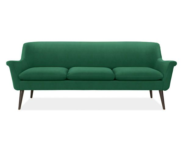 murphy sofa by room & board. kind of obsessed with midcentury.... also, you can't tell from the picture, but this baby happens to be velvet...