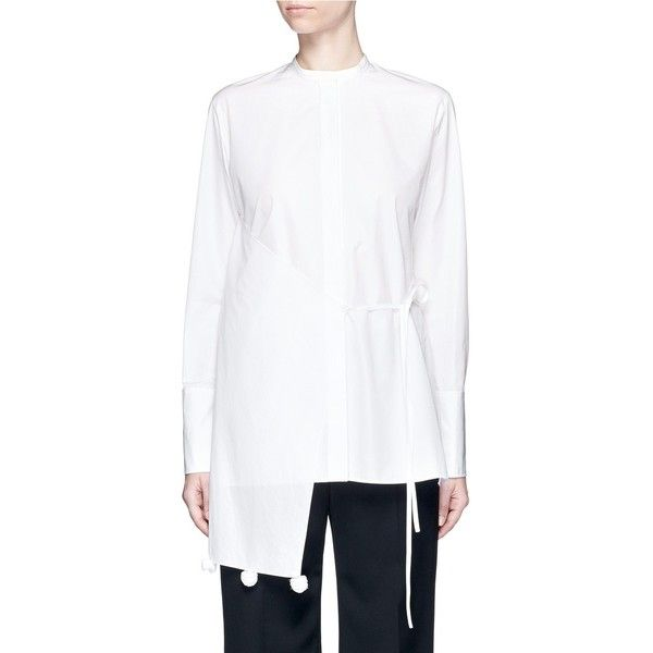 Ports 1961 Asymmetric layered pompom apron cotton poplin shirt ($970) ❤ liked on Polyvore featuring tops, white, apron top, apron shirt, white asymmetrical top, pom pom shirts and white wrap shirt