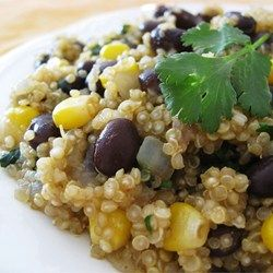 Quinoa and Black Beans Allrecipes.com. Add grilled chicken or browned ground turkey for a little additional meat/protein...but not necessary!