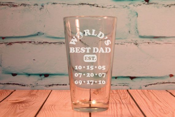 Worlds Best Dad Glass 16 ounce Engraved Pint Glass Fathers Day Gift - New Dad Gift on Etsy, $15.00