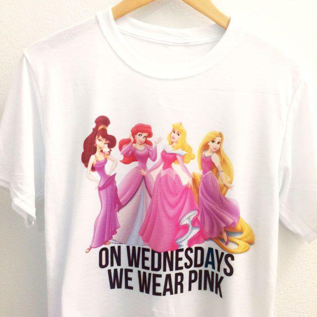 6e9a70fb On Wednesdays We Wear Pink Shirt | Disney Princes | Mean Girl Quotes |  Disney Clothing | Disney princess shirts, Disney shirts, Mean Girls