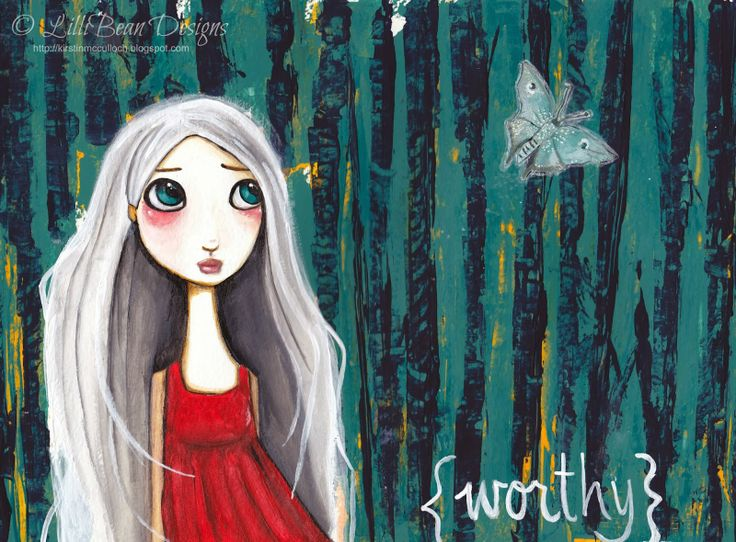 Whats your 2014 word? Mine is Worthy  LISTENING TO THE SQUEAK INSIDE art by Kirstin McCulloch of LilliBean Designs