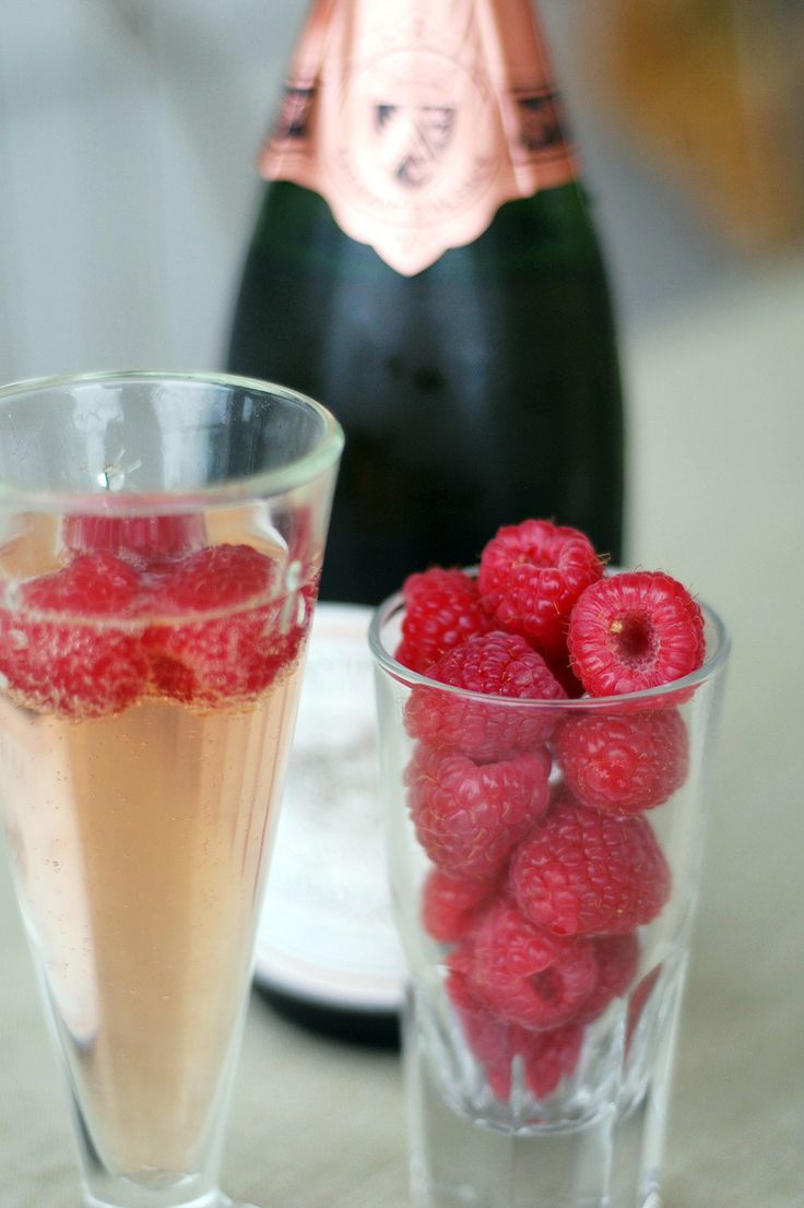 Champagne is a great drink option for this menu, but why not make it just a little more special? Plop fresh raspberries right into your champagne glass and top with your favorite sparkling rosé. The berry will trap all of the bubbles and make a fun treat at the end of your drink.  Photo: Camilla Salem
