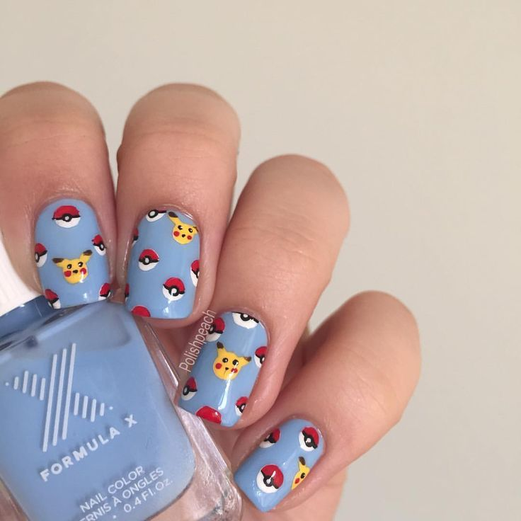 Who else is playing Pokémon Go? Inspired by the recent hype I did these cute Poké-dots and Pikachu nails☺️ Base color is Free Spirit by Formula X Tutorial will be posted later