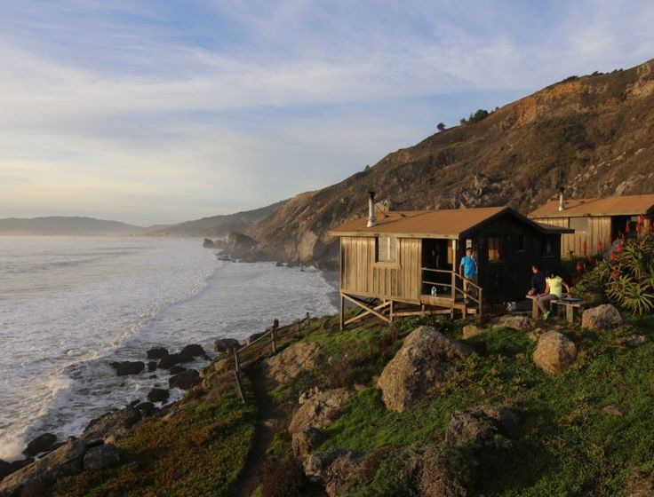 Ten stand-alone cabins cluster on the bluff of Rocky Point on the Marin Coast, just south of Stinson Beach. The gated access road off of Highway 1 keeps it quiet and secluded. Indeed, this is glorified camping: Bring your sleeping bag, sleeping pad, lantern, and most other provisions for camping other than your tent.