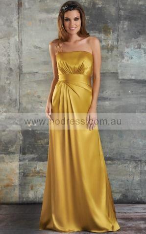 Satin Strapless Empire A-line Floor-length Bridesmaid Dresses 0740269--Hodress