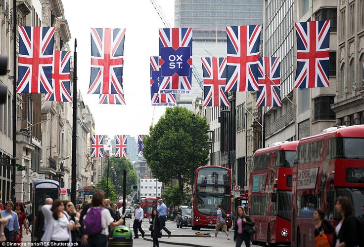 Three-day party: Union flag bunting has been strung across Oxford Street and Regent Street in central London ahead of the festivities