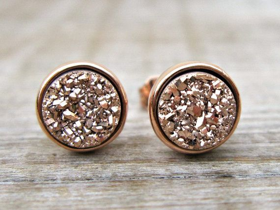 Rose gold earrings bridesmaid gift rose by ConstanceEarthStones