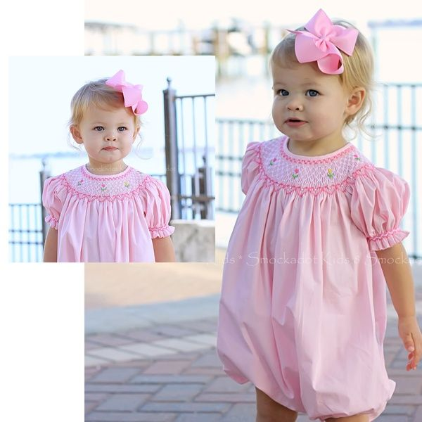 Light Pink Smocked Short Sleeve Bubble