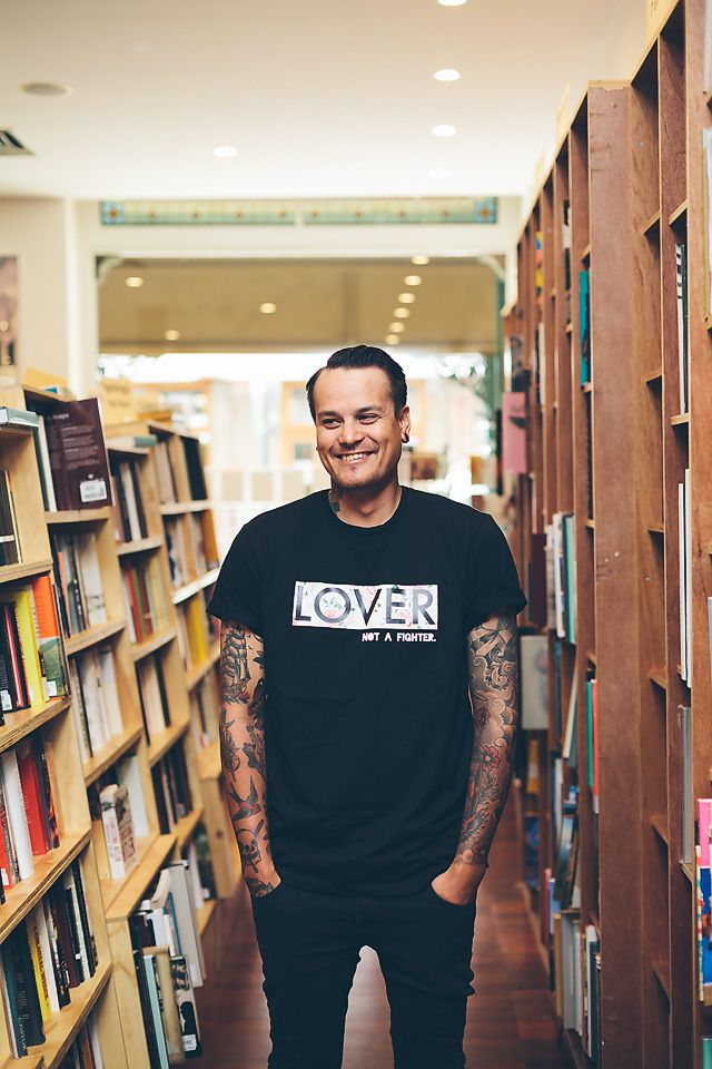 LOVER not a fighter Tee (BLACK) — #BooksOverBombs