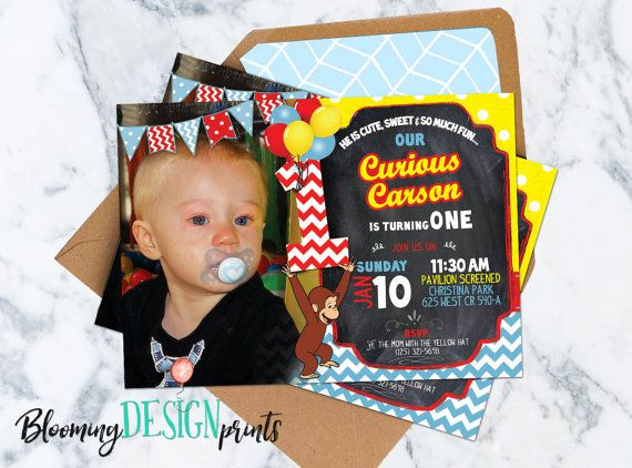 Curious George Invitation  Birthday Party by BloomingDESIGNprints