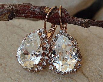 Diamantes de imitación claro pendientes de Swarovski, pendientes en forma de gota, gota de cristal Pendientes de oro rosa, pendientes de novia clara para el regalo de novia Jewelr