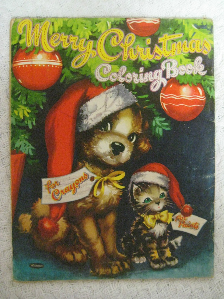 Vintage 1957 MERRY CHRISTMAS Coloring Book By Whitman Publishing Clarence Biers