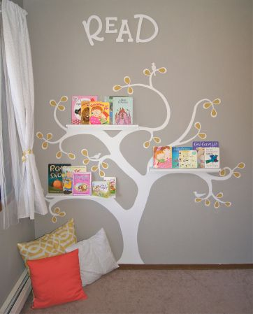 "Reading Corner! Finally after days of deciding on fabric and paint colors I have finished corner #1 of my girls room.   My girls love this ""reading corner"" and have decided that the birds painted on the tree represent the three of them."