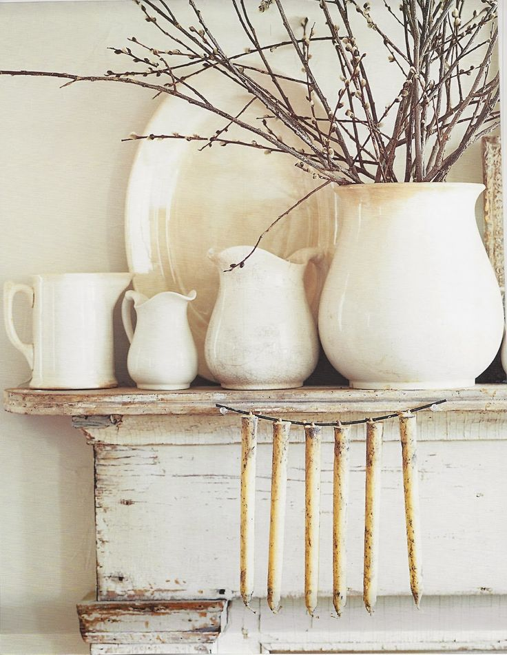 Mantel ironstone vignette and hanging rustic candles. the Polished Pebble: A Patchwork of Inspiration