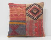 kilim rug pillow modern cushion cover geometric pillow floor pillow cover decorative bed pillow floral throw pillow coral kilim pillow 16707