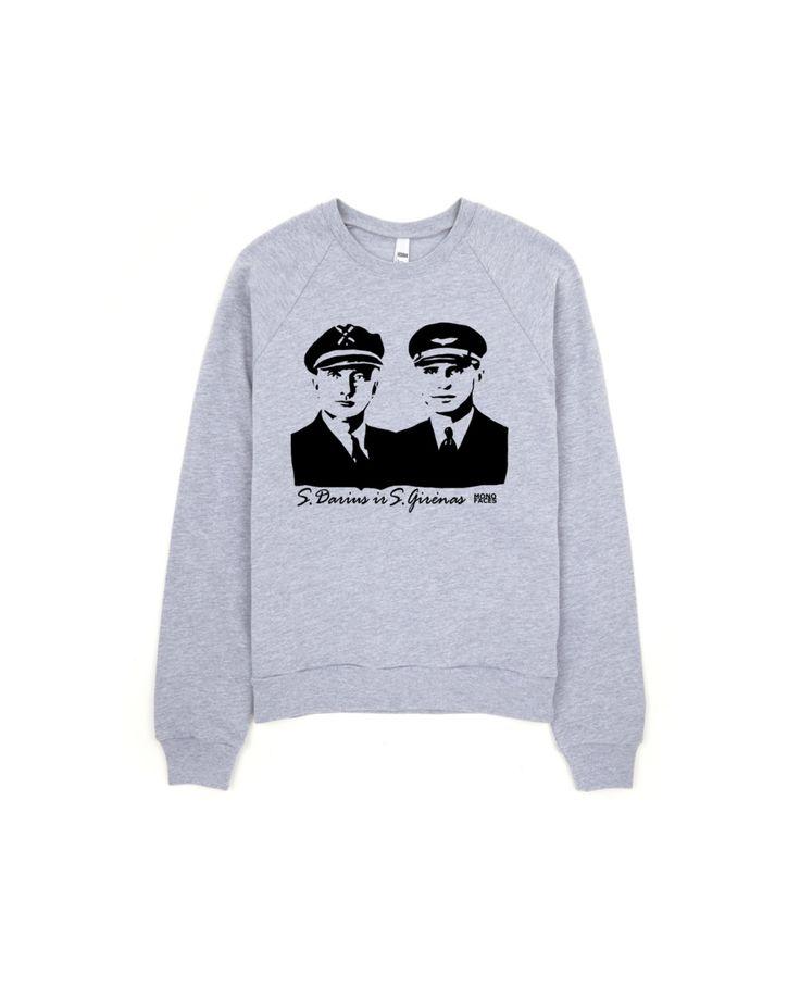 Oversized Sweatshirt, Unisex Sweat Shirt, Personalized Sweater, Boyfriend Gift, Girlfriend Shirt, Grey Crewneck, Lithuanian Darius Girenas by MONOFACES on Etsy