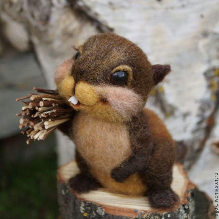 Купить Бобренок - коричневый, бобр, строитель, труд, подарок строителю, шерсть, глазки для игрушек